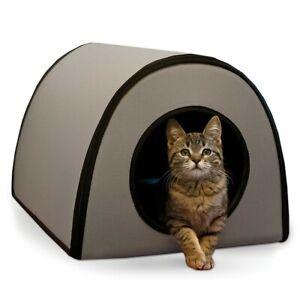 K&H Pet Mod Grey Thermo-Kitty Heated Shelter Great for Outdoor Cats 100213179