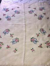 """Vintage HAND Embroidered Tablecloth - 30"""" by 34"""" Floral Pattern"""