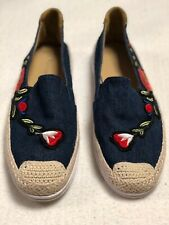 """""""Wanted"""" Blue Denim Women's Embroider Slip on Shoes, Size 9"""