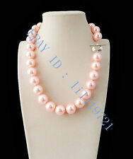 """shell Pearl Necklace 18"""" Ll001 Charming 12mm Aaa Pink South Sea"""