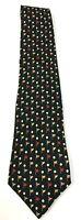 Salvatore Ferragamo Mens  Black Neck Golf Tie Made in Italy Vintage 100% Silk