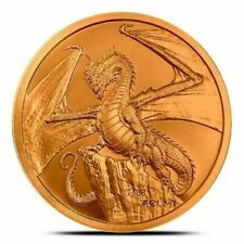 WELSH DRAGON design 1 oz. Copper Round Coin #2 WORLD OF DRAGONS With Capsule