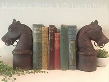 Pair of Antique Style Horse Equestrian Book Ends Bookends Ornament