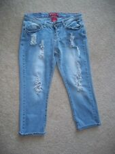 RED RIVET Women's Crop Destroyed Distressed Torn Faded Jeans Sz 7 Junior's