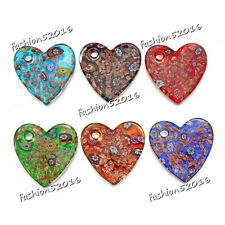 Wholesale Lots 6pcs Heart Flower Lampwork Glass Pendant Fit Necklace Gift