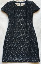 French Connection Women's Sheath Lace Mini-Dress, Size 2, Black, Short Sleeves