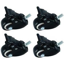 "4 PCS Black 1.5"" 360 Degree Stem Caster Wheel with Brake for Movable Furniture"