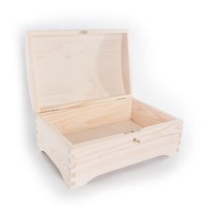 Wooden Chest Storage Box Lockable With Key/ Plain Pinewood/Craft Keepsake Trunk