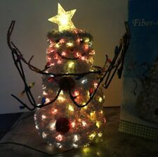 17� Hallmark Mitford Snowman Fiber Optic Color Changing Light String Star Halo