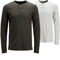 Jack & Jones Vintage Men's Granddad Collar Long Sleeve Top T shirt