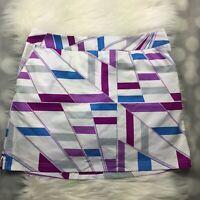 Adidas Skort Womens 14 Purple White Geometric Climacool Skirt Mesh Shorts Tennis