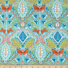 By 1/2 Yard ~ Free Spirit Fabric ~ Butterfly Medallion in Aqua by Dena Designs