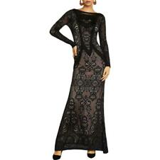 NWT BCBG MAX AZRIA Black Lace Fringe Sheath Evening Dress Gown Sz XS-$368