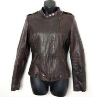 Next Brown Leather Biker Style Jacket Size 12