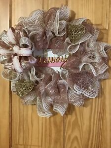 Front Door Heart Love Wedding Anniversary Wreath Made With Rose Gold Mesh