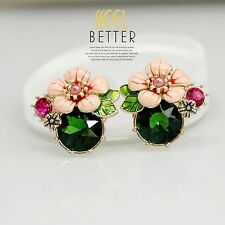 Rings`Ears Clip on Studs Big Pink Flower Enamel Green Emerald Retro L2