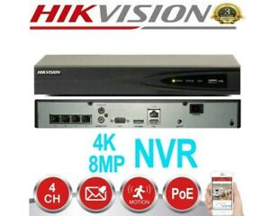 HIKVISION 4CH IP PoE NVR 4K 8MP Network Video Recorder DS-7604NI-K1/4P CCTV Home