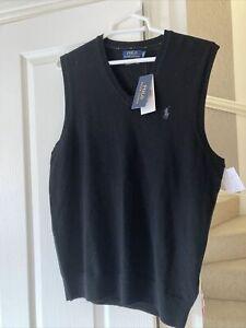 Polo Ralph Lauren Mens Slim Fit Golf Merino Wool Black Pullover Size M Medium