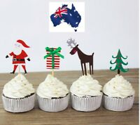 12 x CHRISTMAS THEME CUPCAKE JELLY CUP TOPPERS FRUIT PICK SANTA PRESENT FUN CUTE