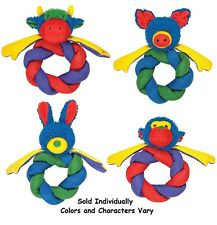 """Braided Ballistic Ring Dog Toys Snuggle Fleece Characters and Colors Vary 10"""""""