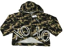 XOXO Juniors Camouflage Cropped Hoodie Zip Up Short Sleeve SMALL