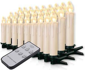 30 StückLED Kerzen Kabellos Dimmbar Kerzenlichter Flammenlose Weihnachtskerzen