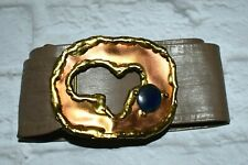 Vintage MARCY Signed Modernist  Leather Belt with Buckle Copper Brass Stone