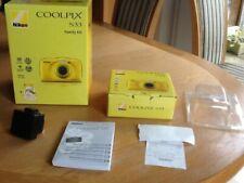 NIKON Coolpix S33  Digital Camera YELLOW EMPTY Box, plug, manual and receipt