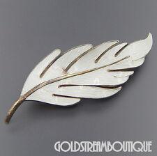 VINTAGE HROAR PRYDZ NORWAY WHITE GUILLOCHE ENAMEL LARGE LEAF BROOCH PIN #06503