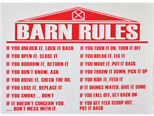 Barn Rules Sign White Corrugated Plastic Safety Red Vinyl Lettering