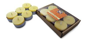 6 Natural Honey Scented Beeswax Tea Light Candles, Cotton Wick, Aluminum Cup
