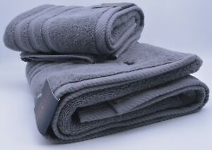 Ralph Lauren Towel Set Hand Towel And Bath Towel In Grey Cotton New With Tag