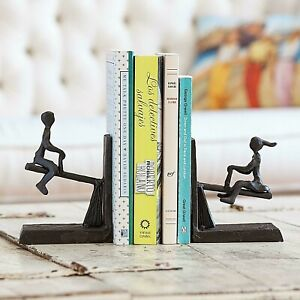 Children Playing on See-Saw Teeter Totter Bookend Set Metal Sculpture Figurines