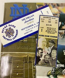 Tom Brady Ticket First College Start Notre Dame vs Michigan September 5 1998