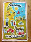 Vintage Souvenir Linen Towel Nassau Bahamas Design By Ulster MCM 60s