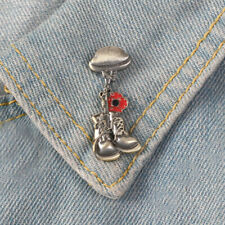 REMEMBRANCE SOLDIER DAY VETERAN HELMET BOOT ENAMEL BROOCH PIN SHIRT JACKET SMART