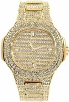 Men Fully Iced Watch Gold Oblong Bling Rapper Simulate Lab Diamond Band Luxury