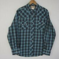 Wrangler Mens Large Blue Pearl Snap LS Button Up Plaid Shirt Western Cowboy L