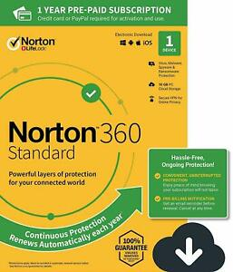 Norton 360 Standard 2021 1 Device 1 PC 1 Year +Secure VPN Internet Security 2020