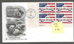 #C90 FDC...31c Plane, Globes & Flag...Plate Block....1/2/76