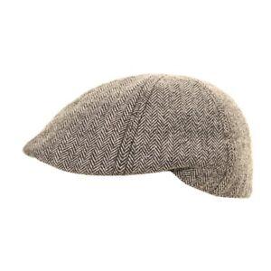 Herringbone Tweed Flat Cap H60 Peaky Blinders Gatsby Newsboy Driving Hawkins Hat