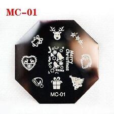 Navidad Reno Santa Campanas Nail Art Stamp Calcomanías Uñas Stamping Placa MC01