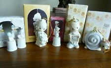 Precious Moments Porcelain Bisque Ornaments And Thimbles - Lot Of 6 *Euc*