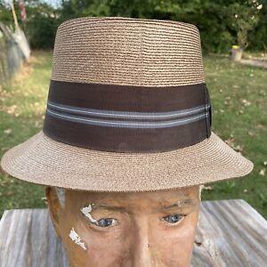 VTG Fedora Woven Straw Hat Mens Sz 7-1/8 Panama Quality Superior England Band