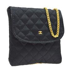 CHANEL Quilted CC Logos Mini Shoulder Bag Pochette Black Satin JT08675e