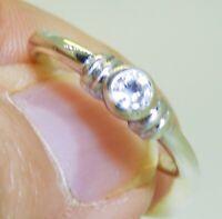 9CT  9 CARAT WHITE GOLD 0.1CT SIMULATED  DIAMOND  SINGLE STONE  ENGAGEMENT RING