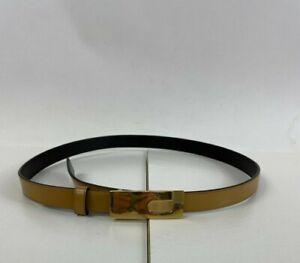 """Vintage GUCCI Belt Camel Leather Gold """"G"""" Buckle Size 80 - US 32"""""""