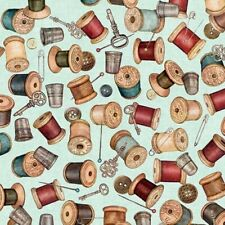 Seamless Spools Buttons Thimbles Sewing Notions Teal Cotton Fabric by the Yard