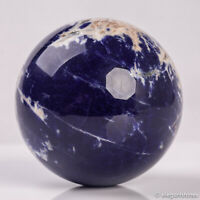389g 68mm Large Natural Blue Sodalite Quartz Crystal Sphere Healing Ball Chakra