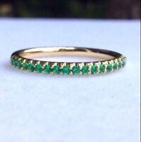0.40 Ct Pave Set Green Emerald Half Eternity Anniversary Band 14k Yellow Gold GP